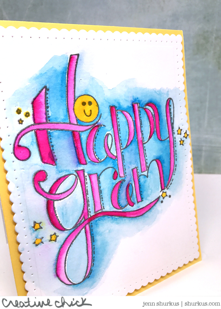 Watercolored Happy Gram with Spellbinders | shurkus.com