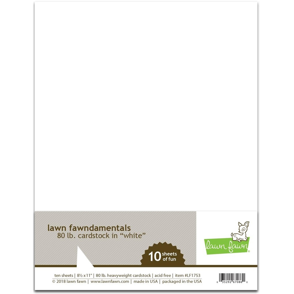 Lawn Fawn, 80 LB WHITE 8.5 x 11 Inch Cardstock