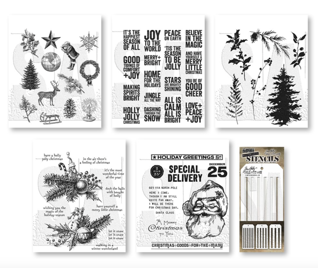 Tim Holtz/Stampers Anonymous: I WANT IT ALL Stamps Stencils 2021 Christmas Edition